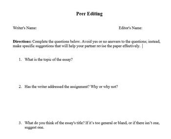 Peer Editing Response Form