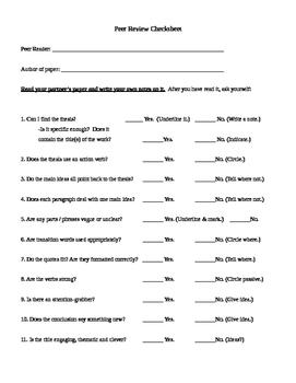 Peer Editing / Revising Check Sheet for Essays