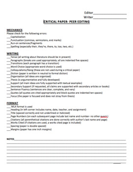 Peer Editing/ Self Evaluation of Critical Writing Assign. Worksheets