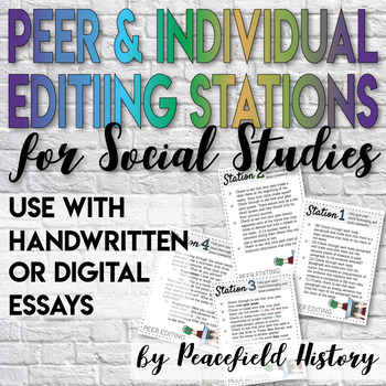 Peer Editing Stations for Social Studies Essays Task Cards and Posters