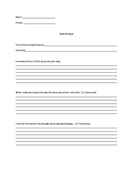Peer Editing/ Story Critique Form
