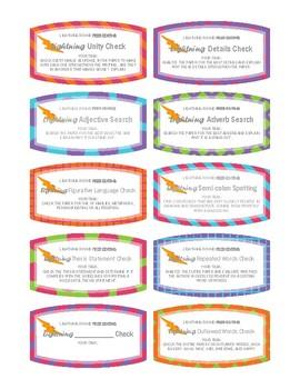 Peer Editing Task Cards - Lightning Round Peer Editing