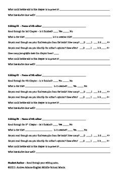 Peer Editing Task Sheets