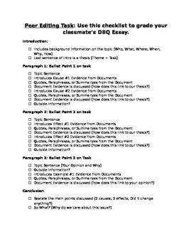 Peer Editing Task for DBQ