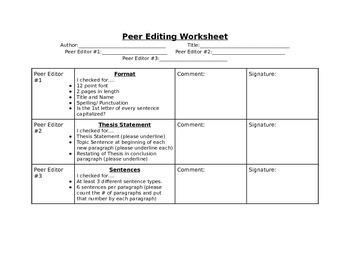 Peer Editing Worksheet