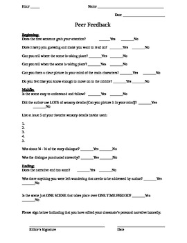 Peer Editing Worksheet - Narrative Writing