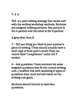 "Peer Editing Worksheet ""TAG"""
