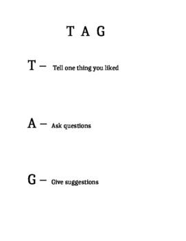 """Peer Editing Worksheet """"TAG"""""""