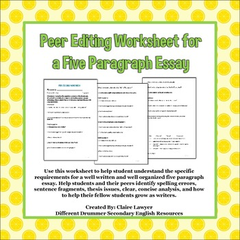 Peer Editing Worksheet for Five Paragraph Essay