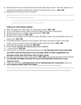 Peer Editing Worksheet/Guide - Research Paper