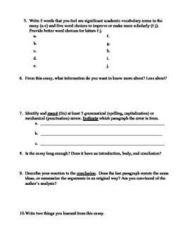 Peer Editing Workshop- Worksheet with Guided Questions for Revision