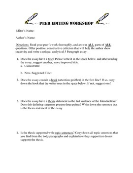 Peer Editing Workshop- Worksheet with Guided Questions for