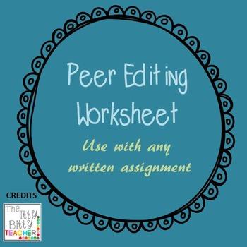 Peer Editing Writing Worksheet