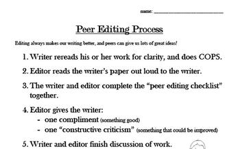 Peer Editing & Writers' Club in Writing Workshop