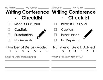 Peer Editing - Writing Checklist