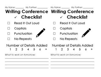 Peer Editing - Writing Checklist