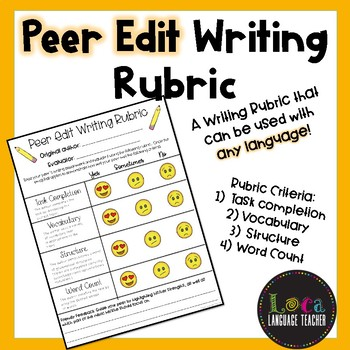 Peer Edit Writing Rubric with Emojis
