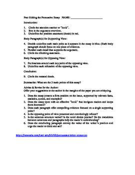 Peer Editing for Persuasive Essays