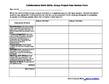 Peer Evaluation FREEBIE