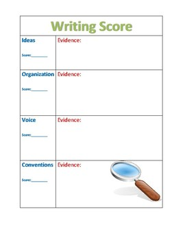 Peer Evaluation Writing Evidence Sheet