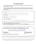 Peer Evaluation Form for Group Projects