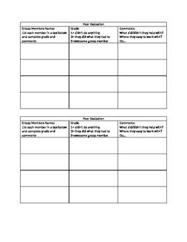 Peer Evaluation Sheet