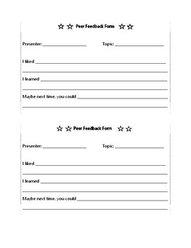 Peer Feedback Forms