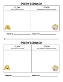 Peer Feedback Forms: Glow & Grow (half-page student feedba