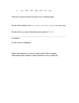 Peer Feedback Handout for Essay Assignments