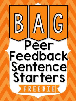 Peer Feedback Sentence Starters - FREEBIE