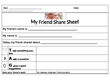 Peer Feedback Share sheet for Partner Group or Whole Class