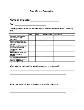 Peer Group Evaluation
