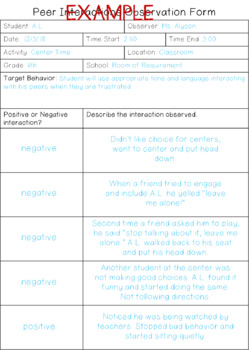 Peer Interactions Observation Form