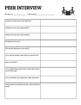 Peer Interview Prompts
