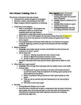 Peer Mentorship Program Outline- Editable by Selina ...