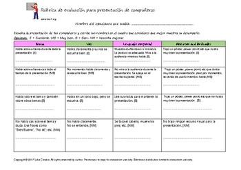 Peer Presentation Evaluation Rubric.  Rúbrica de evaluación