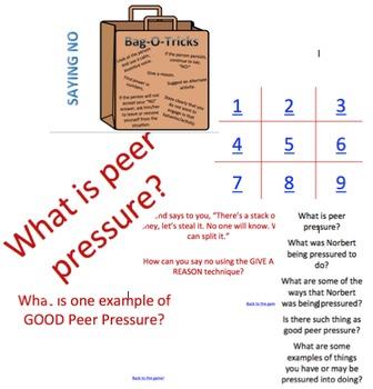 Red Ribbon Week Peer Pressure Gauge Julia Cook Tic Tac Toe (Jeopardy Style) Game