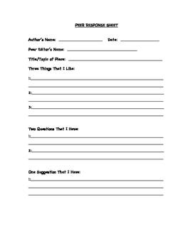Peer Response Sheet
