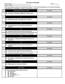 Peer Review Checklist ACER-CON model for Argumentative Writing
