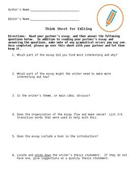 Peer Review Edit Sheet