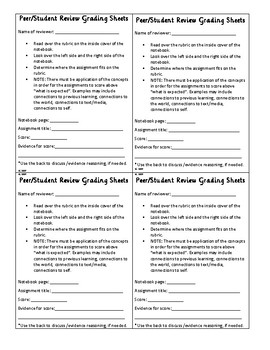 Peer Review Interactive Notebook Grading Sheet