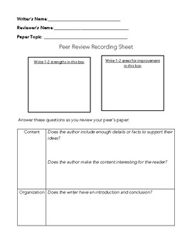Peer Review Recording Sheet
