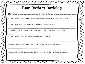 Peer Review: Revising & Editing Sheets