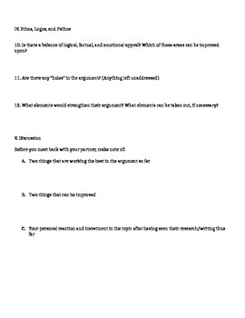 Peer Review Sheet for Argument Essay