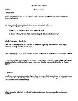 Peer Review Sheet for Argument Essay