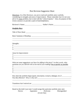 Peer Review Suggestion Sheet