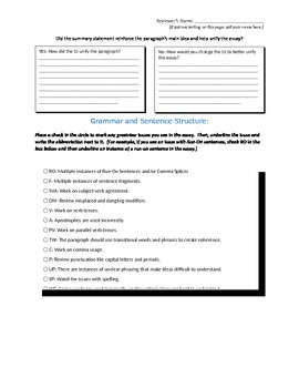 compare contrast peer review worksheet