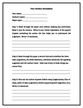 peer review worksheet