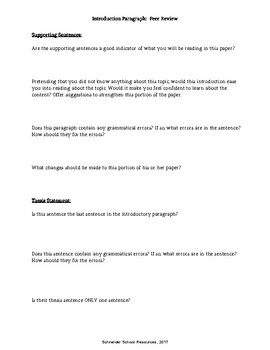 Peer Review and Editing Workshop: Introduction Paragraph
