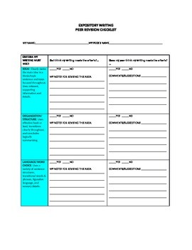 Peer Revising Checklist for Expository Essay